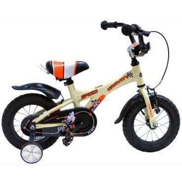 Детский велосипед GRAVITY Speed 2015Детские<br>GRAVITY Speed 2015<br>Gravity Speed - детский велосипед для детей от трех лет, легкая и прочная алюминиевая рама, стильный современный дизайн, удобный широкий руль, позволит вашему ребенку максимально комфортно чувствовать себя на велосипеде, возможность регулировки руля по высоте и углу наклона, ножной и ручной тормоз, регулируемые боковые колеса, крылья.<br><br><br><br><br><br>Общие характеристики<br><br><br>Модель<br>2015 года<br><br><br>Тип<br>детский<br><br><br>Возраст ребенка<br>2 - 4 года, рост до 105 см<br><br><br>Рама, вилка<br><br><br>Материал рамы<br>алюминиевый сплав<br><br><br>Амортизация<br>отсутствует<br><br><br>Конструкция вилки<br>жесткая<br><br><br>Конструкция рулевой колонки<br>неинтегрированная, резьбовая<br><br><br>Колеса<br><br><br>Диаметр колес<br>12 дюймов<br><br><br>Материал обода<br>алюминиевый сплав<br><br><br>Двойной обод<br>нет<br><br><br>Материал бортировочного шнура<br>металл<br><br><br>Возможность крепления боковых колес<br>есть<br><br><br>Боковые колеса в комплекте<br>есть<br><br><br>Торможение<br><br><br>Тип переднего тормоза<br>V-Brake<br><br><br>Уровень переднего тормоза<br>начальный<br><br><br>Тип заднего тормоза<br>ножной<br><br><br>Уровень заднего тормоза<br>начальный<br><br><br>Трансмиссия<br><br><br>Количество скоростей<br>1<br><br><br>Уровень каретки<br>начальные<br><br><br>Уровень кассеты<br>начальные<br><br><br>Количество звезд в кассете<br>1<br><br><br>Количество звезд системы<br>1<br><br><br>Конструкция педалей<br>классическая<br><br><br>Руль<br><br><br>Конструкция руля<br>изогнутый<br><br><br>Настройка положения руля<br>регулируемый подъем<br><br><br>Дополнительная информация<br><br><br>Защитная накладка на руле<br>есть<br><br><br>Защитная цепи<br>есть<br><br><br>Комплектация<br>крылья