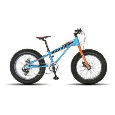 Фэтбайк Totem 2017, сине-оранжевый, детский, колёса 20*4.0, 7 скоростей, T16B803BФэтбайки<br>Рама FRAME: 11 Алюминий сплав 6061 FAT Bike<br>Вилка FORK: Алюминиевая, облегченная<br>Манетки SHIFTER? SHIMANO SL-TX50 7speed<br>Передний переключатель FRONT DERAILLEUR? Отсутсвует<br>Задний переключатель REAR DERAILLEUR? SHIMANO RD-TX35<br>Шатуны (с защитой) CRANKS? MODE GT3-142FP 40T<br>Каретка BB: NECO B910<br>Кассета GEAR: 14-28T<br>Цепь CHAIN? KMC Z33<br>Педали PEDALS: FEIMIN FP-806B<br>Передняя втулка FRONT HUB? QUANDO с быстрым зажимом на 32 Спицы<br>Задняя втулка REAR HUB: QUANDO с быстрым зажимом на 32 Спицы<br>Обода RIMS: Алюминиевый 32 Спицы<br>Покрышка TIRES: CHAOYANG Big Daddy H-5176, 20 * 4.0, 120 TPI, фолдинговые, двойной компаунд (2C-MTB)<br>Вынос руля STEM? MODE MD-HS087A, Алюминий<br>Руль HANDLEBAR? MODE 600 мм, Сталь<br>Тормоза BRAKES? Дисковые, Механические<br>Сиденье SEAT? VADER<br>Подседельный штырь SEAT POST? Алюминиевый с зажимом, диаметр 30.9 мм, Высота 300 мм<br>Вес кг weight kg: 14.4<br>Подножка kickstand: Есть<br>Размер в упаковке сантиметры size in box cm: 132x27x67
