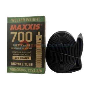 Велокамера Maxxis Welter, 700x35/45C, Presta, Weight, 0.9mm, черная, велониппель, IB94198100Камеры для велосипеда<br>Размер: 700?35/45C<br>Ниппель: Presta 43мм<br>Толщина стенки: 0,9 мм<br>Вес: 150 грамм