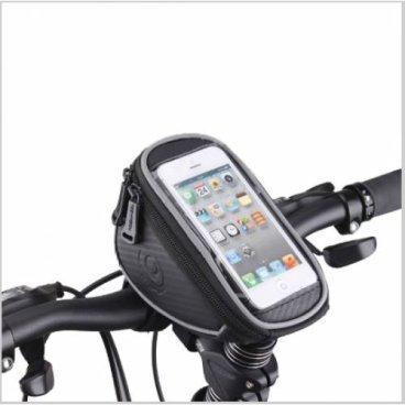 Велосумка MINGDA на руль и вынос L19хH9,5хW8, с отделением для смартфона 19х9.5см, 11810-LВелосумки<br>Mingda сумка на руль и вынос L19хH9,5хW8 с отделением для смартфона 19х9.5см (SAMSUNG, IPHONE, HTC), крепление на липучках, материал 300D влагостойкий, светоотражающий кант