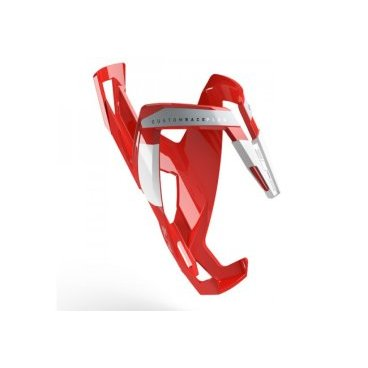 Велосипедный флягодержатель Elite Custom Race Plus, fiberglass, красный, белый рисунок. EL0140616