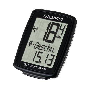 Велокомпьютер SIGMA BC 7.16 ATS, беспроводной, 7 функций, 07162Велокомпьютеры<br>В дополнение к базовым функциям велокомпьютера BC 7.16 АTS также вычисляет среднюю скорость езды и подсчитывает суммарное время всех поездок. Большой экран и современный обтекаемый дизайн будут отлично смотреться на любом велосипеде. Доступен в проводной и беспроводной версии.<br>Семь функций<br><br>В дополнение к основным функциям ВС 7.16 ATS вычисляет среднюю скорость и показывает общее время поездки. Большой экран и аккуратный обтекаемый дизайн будут отлично смотреться на любом велосипеде.<br>- велокомпьютер Sigma BC 7.16 ATS<br> - беспроводная база<br> - датчик скорости ATS<br> - магнит<br> - крепежные кольца<br> - руководство пользователя