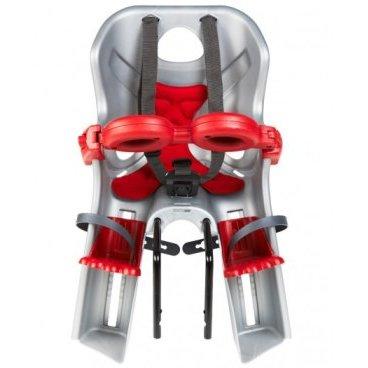 Детское велокресло на руль BELLELLI Freccia B-Fix, серебристое, до 15кг, 01FRCB0007Детское велокресло<br>На сегодняшний день торговая марка Belleli является одной из самых надежных производителей товаров для детей. Качество продукции Belleli соответствует Европейскому Стандарту Безопасности при Европейской Экономической Комиссии ООН (ECE), о чем свидетельствует маркировка со значком ECE R44/04.<br>Переднее велокресло FRECCIA B-Fix, изготовлено из качественного пластика оснащено ремнями безопасности, их можно отрегулированы по высоте и длине. Пряжка легко защелкивается одной рукой и защитой для ног, которая предотвращает контакт ног ребенка с колесом в любых положениях. Перфорированная, вентилируемая комфортабельная спинка сидения. Крепление на руль (головная труба).<br>В комплекте идет бампер для дополнительной защиты ребенка, открывается с одной стороны одним нажатием.<br><br>Цвет: серебристое с красным, с красной подкладкой<br><br>Система крепления: B-fix<br><br>Универсальная система крепления B-fix позволяет устанавливать велокресло как спереди, так и сзади. Крепление имеет возможность фиксироваться под рулем, на раме либо на подседельной трубе.