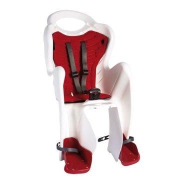 Детское велокресло BELLELLI Mr Fox Relax B-Fix, на подседельную трубу, белое с красным, до 22 кг, 01FXRB0020