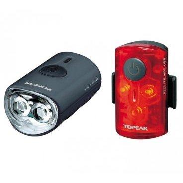 Комплект габаритных фонарей с зарядкой TOPEAK Mini Combo USB, TMS080Фары и фонари для велосипеда<br>Комплект габаритных фонарей с зарядкой от USB (пластик)