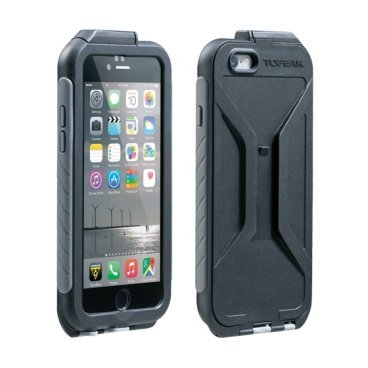 Чехол Topeak Weatherproof RideCase для iPhone 6/6S, черно-серый, TRK-TT9847BGДержатели для телефона на руль велосипеда<br>Пыле и влагозащищенный чехол для iPhone 6/6S. Идеально прилегает к корпусу телефона, делая его жестче и приятнее на ощупь. Чехол имеет полную пыле и влагозащиту. Вес 75 граммов. Может быть установлен на крепление RideCase (чашка рулевой трубы руль вынос). Совместим с сенсором отпечатков пальцев Touch ID.<br><br>ВНИМАНИЕ<br>Из-за супер-точной подгонки чехла к корпусу телефона, любые защитные пленки (панели) на задней крышке и по бокам корпуса должна быть удалены перед использованием чехла.<br><br>Дополнительно<br>Совместим только с iPhone 6/6S<br>Совместим с креплением RideCase <br>Портретный или широкоэкранный режим установки<br>Совместимо с Touch ID<br>Вес товара75 гр.<br>Артикул товараTRK-TT9847BG<br>СмартфонiPhone 6S, iPhone 6<br>КреплениеСовместим с RideCase<br>Размеры (грипсы)15.7 x 8 x 1.5 cm<br>МатериалПластик, Силикон