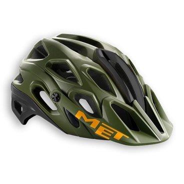 Велошлем MET Lupo, зелено-черно-оранжевый