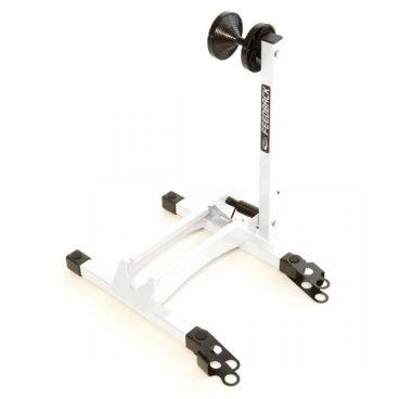Стойка для велосипеда Feedback Rakk Bicycle Display/Storage Stand, белая, 16536Стенды для велосипедов<br>Компактная стойка для хранения и демонстрации велосипедов, идеальная для использования дома, в гараже или в веломагазине. Подпружиненный рычаг надёжно удерживает колесо велосипеда без риска поцарапать обод или спицы. Стойка очень удобна в применении – вам достаточно просто закатить велосипед в специальный паз, и рычаг автоматически зафиксирует колесо.<br><br>ОСОБЕННОСТИ<br><br>Компактная стойка для хранения и демонстрации велосипедов<br><br>Подходит для колёс диаметром от 20 до 29 дюймов и для покрышек шириной от 20мм до 2.4 дюйма<br><br>Удобна в применении<br><br>Несколько стоек можно соединить между собой<br><br>Вес: 2.7кг
