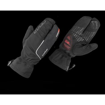Велоперчатки зимние GripGrab Nordic, ветро- влагозащита, гелевые вставки, черныйВелоперчатки<br>Зимние перчатки Nordic – очень теплые и комфортные перчатки для катания зимой. Внешний влаго- и ветронепроницаемый слой дополнен дизайном «лобстер» и максимальной степенью термоизоляции позволяют сохранить тепла и комфорт для ваших рук в при отрицательных температурах. Трехпальцевая конструкция перчатки оставляет достаточную степень свободы для управления велосипедом.  Ладонь перчаток Nordic водонепроницаемая, специальные вставки на пальцах позволяют пользоваться тачскрином, не снимая перчаток.<br><br>    Температурный режим: от 0° С до -10° С<br>    Максимальная степень термоизоляции<br>    Ветро- и влаго непроницаемость<br>    Дышащий материал<br>    Гелевые вставки 4 мм DoctorGel™ <br>    Силиконовые вставки на ладони и пальцах<br>    Светоотражающая графика<br>    Вставки для работы с тачскрином<br>    Вставка для вытирания пота<br>    Манжета с фиксирующим шнурком<br><br>Размер перчаток XS, S, M, L, XL, XXL <br><br>Материалы<br>78% полиэстер<br>20% полиамид<br>2% эластан