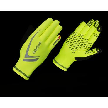 Велоперчатки GripGrab Running Expert Hi-Vis, желтые фото