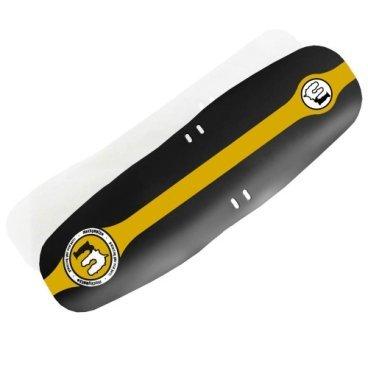 Крыло переднее Mucky Nutz Face Fender XL, золото, MN0065Крылья для велосипедов<br>Переднее крыло Mucky Nutz Face Fender (XL) спасает от грязи и брызг. <br>Оно сделано из гибкого пластика и весит всего 30 грамм!<br><br><br>Характеристики:<br><br>- Легко устанавливается<br>- Легко чистится<br>- Подходит для колес всех размеров<br>- Крепится хомутами за вилку<br>- Материал: гибкий пластик <br>- Не ломается при падении велосипеда<br>- Вес: 30 грамм<br>- Сделано в Великобритании