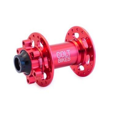 Втулка передняя Colt Bikes .38 15mm, 32h, красныйВтулки для велосипеда<br>Втулка передняя Colt Bikes .38 15mm, 32h, красная.<br><br>Описание<br>Рады представить серию втулок COLT.38! Промышленные подшипники защищены дополнительными влагоустойчивыми пыльниками. Сменные чашки позволяют конвертировать втулку в один из нескольких популярных стандартов.<br><br>Особенности<br>Корпус: AL 6061<br>Ось: AL 7075-T6<br>Крепление: 15х110 мм<br>Подшипники: NBK закрытые промышленные<br>Вес: 160г<br><br>Технические параметры<br>От левого края до центра левого фланца: 28мм<br>Расстояние между фланцами: 57мм<br>Диаметр фланцев: 2,6мм<br>Толщина фланца: 3,3мм<br>Диаметр отверстий под спицы: 56мм<br>Подшипники: 17287 x2
