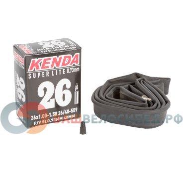 Камера для велосипеда KENDA 26х1.00-1.50 (26/40-559), узкая спортниппель 48мм резьба, 5-515205Камеры для велосипеда<br>Камера для велосипеда KENDA 26х1,00-1,50 (26/40-559)<br>Узкая, ниппель спорт 48мм c резьбой, облегченная, толщина стенки 0,73мм, высокоэластичная бутиловая резина, индивидуальная упаковка<br>Артикул 5-515205