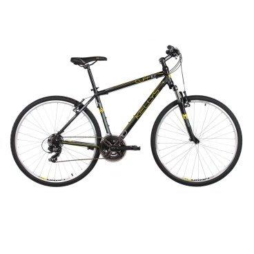 Гибридный велосипед KELLYS CLIFF 10, колёса 28, рама: Al 6061, 21 скорость, черно-жёлтый
