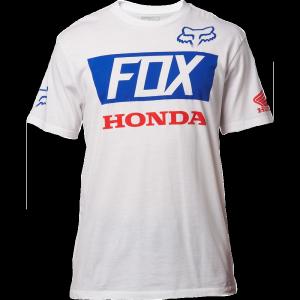 Велофутболка Fox Honda Basic Standard Tee, белый 2017Велофутболка<br>Высококачественная футболка с коротким рукавом от Fox. Модель из плотной хлопковой ткани, выполненная в командной расцветке Fox Racing/Honda.<br><br><br><br>ОСОБЕННОСТИ<br><br><br><br>Материал: 100% - хлопок<br><br>С-образный вырез<br><br>Командная расцветка Fox Racing/Honda