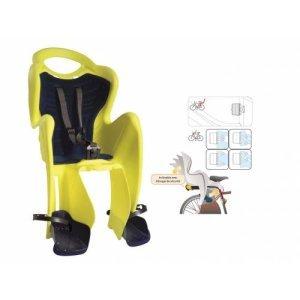 Детское велокресло BELLELLI заднее Mr Fox Relax B-Fix, Hi-Viz, светоотражающее, жёлтое, до 22кг