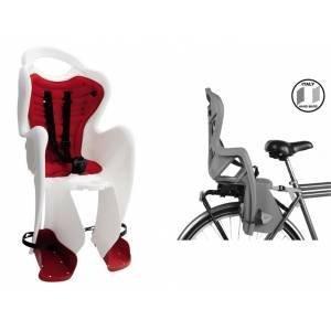 BELLELLI Сидение заднее Mr Fox Clamp, белое с красной вставкой, до 22кгДетское велокресло<br>Сидение заднее Mr Fox Clamp<br>Это кресло крепится на уже установленный задний багажник велосипеда (грузоподъемность багажника не менее 25 кг., ширина 12-17,5 см.) с колесами 26-28 и позволяет перевозить ребенка весом до 22 кг., то есть от 1 года до 7 лет.<br>Велокресло Pepe Clamp имеет мягкую прокладку, ремни безопасности и защиту ног от попадания в спицы.<br>За счет вентилируемой перфорированной спинки малышу не будет жарко.<br>Форма корпуса велокресла обеспечивает защиту ребёнка по бокам.<br>Пряжка на ремнях безопасности позволяет фиксировать ребенка в велокресле одним движением, но при этом не может быть расстегнута ребенком случайно.<br>Ширина багажника 120-175 мм.<br>Цвет: белое с красной вставкой,<br>Производитель: BELLELLI