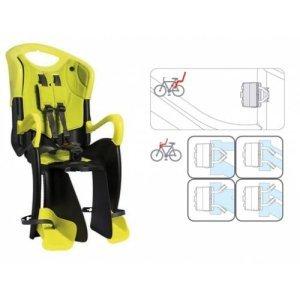 Детское велокресло BELLELLI заднее Tiger Standard B-Fix, Hi-VizДетское велокресло<br>Сидение заднее Tiger Standard B-Fix, Hi-Viz<br>Детское заднее вело кресло крепится к велосипеду сзади на подседельную трубу и позволяет перевозить ребенка с года до 7 лет.<br>За счет вентилируемой перфорированной спинки малышу не будет жарко в знойный день.<br>Гибкий стальной держатель снижает нагрузку на позвоночник ребенка за счет амортизации вибраций велосипеда.<br>Пряжка регулируется в двух позициях, позволяет зафиксировать ребенка в вело кресле одним движением, но при этом не может быть случайно расстегнута ребенком. Ремни безопасности могут быть отрегулированы по высоте и длине.<br>Широкая, регулируемая по высоте защита для ног, предотвращает контакт с колесом в любых положениях.<br>Вело кресла BELLELLI соответствуют европейскому сертификату качества TUV и отвечают стандарту безопасности EN 14344. <br>Требования к велосипеду: диаметр колес 26-28 дюймов, рама круглого сечения с диаметром 25-46 мм. или овального сечения с размерами 30-40 мм. на 38-46 мм., для установки крепления на подседельной трубе необходим участок, свободный от кронштейнов, примерно в 8 см.<br>5-ти точечный ремень безопасности.<br>Регулируемая по высоте спинка сидения.<br>Крепление bellelli B-Fix позволяет установить вело сиденье как сзади так и спереди.<br>Вес ребенка не должен превышать 22 кг.