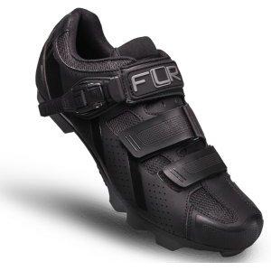 Велотуфли FLR F-65, MTB, искуственная кожа, 2 липучки+застежка, черные, 15-529