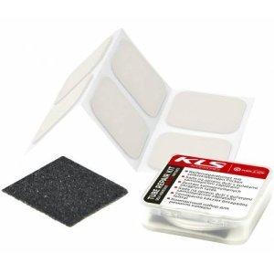 Ремкомплект KLS MTB: заплатки-самоклейки 30х30мм х 6 шт., наждачка, в пластиковой коробочке