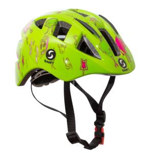 Велошлем детский SwiftBikes 11, зеленый, SWHSGRВелошлемы<br>Велошлем детский Swift Bike.<br><br>Характеристики:<br><br>Размер шлема можно легко отрегулировать при помощи ролика на затылочной части шлема. <br><br>Сьемный мягкий поролон, внутри шлема, обеспечивает комфорт при эксплуатации и удобство при очистке.<br><br>15 отверстий для вентиляции<br><br><br><br>Вес: 235 г.