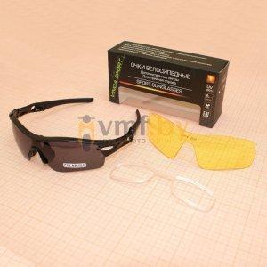 Очки велосипедные, Vinca Sport VG 02-1 black polarized, дополнительная линза, диоптрийная оправа.Велоочки<br>Очки велосипедные, Vinca Sport VG 02-1 black polarized, дополнительная линза и диоптрийной оправой. Велосипедные солнцезащитные очки Vinca Sport<br>Легкие, удобные и недорогие велосипедные очки с сменными линзами в комплекте идет сменная линза желтого цвета. Предусмотрена возможность установки диоптрийных линз в специальную оправу.