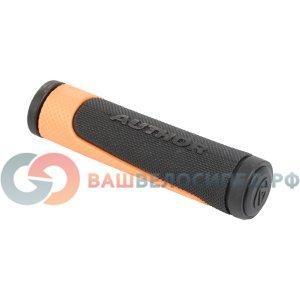 Ручки  на руль AUTHOR AGR-600-D3, 130 мм, резиновые, 2-х компонентные, черно-серые, 8-33452006Ручки и Рога<br>NEW, резиновые, эргодизайн, двухкомпонентные, 130мм, 96г/пара, черно-неоново-оранжевые, блистер