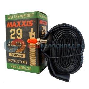 Велокамера Presta Maxxis Welter, 29x1.9/2.35, Weight, 0.9mm, черная, велониппель, IB96826100Камеры для велосипеда<br>прочная камера, устойчива к проколам<br>размер: 29x1.90/2.35<br>ниппель: FV (Presta велосипедный)<br>45мм длина ниппеля спорт<br>толщина стенок: 0.9мм<br>вес: 225г