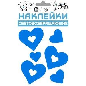 Наклейки световозвращающие COVA™ Сердечки, размер 100х85 мм, цвет синийРазное<br>Наклейки световозвращающие COVA™ Сердечки, размер 100х85 мм, цвет синий