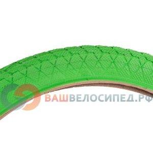 Покрышка для велосипеда KENDA 20х1.95 (50-406) K907 низкий, зеленая 5-527213Велопокрышки<br>Велопокрышка KENDA KRACKPOT 20х1.95 (50-406) K907  <br>Низкий протектор <br>Цвет зеленый <br>Артикул 5-527213