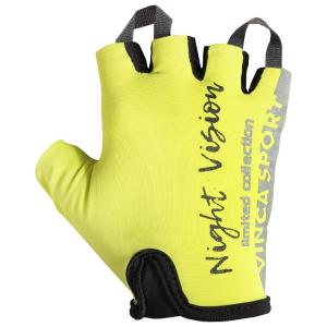 Перчатки велосипедные Vinca Sport Night Vision adult, VG 961 Night Vision adultВелоперчатки<br>Перчатки для взрослых серии «Night Vision» со световозвращающими элементами.<br>Высокое качество. Оригинальный, стильный дизайн.<br>Удобно сидят на руке, а благодаря прочным петлям между пальцами, перчатки можно легко снять.<br>Размеры: XS, S, M, L, XL, XXL<br>Аксессуары серии «Night Vision» делают велосипедиста заметным и повышают безопасность.<br>Индивидуальная упаковка Vinca sport.<br>Входит в коллекцию «Night Vision»<br><br>Характеристики<br>Материал внутренней стороны: искусственная замша.<br>Материал тыльной стороны: лайкра.