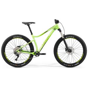 Велосипед горный, трейл Merida Big.Trail 400, 2019Горные (MTB)<br>Merida Big.Trail 400 (2019) – стильный трейловый велосипед из категории хардтейлов. Это универсальный горный байк, способный быстро ехать вниз по техничным спускам, перемещаться на приличные расстояния и карабкаться в подъемы. Модель собрана на прочной и легкой раме из алюминиевого сплава, оборудованной воздушной вилкой для полного контроля любой трассы. Специальная геометрия помогает «выдергивать» байк и без труда преодолевать препятствия. За переключение скоростей и своевременное торможение отвечают 11-скоростная трансмиссия и дисковая гидравлика от Shimano. Колеса имеют стандарт 27,5+ благодаря цепким и широким покрышкам Maxxis Rekon. <br><br>Для чего подойдет Merida Big.Trail 400 (2019)?<br>Линейка объединяет трейловые хардтейлы с различным уровнем навесного оборудования. Эти велосипеды подарят вам море позитива и удовольствия от катания! С их помощью вы станете настоящим повелителем трейлов! Их стихия – это горные тропы и любая пересеченная местность, где камни и корни – обычное дело. Прикатывайте новые траектории и наслаждайтесь полным контролем над байком! <br><br>Крепкая алюминиевая рама с жестким задним треугольником, заниженным центром тяжести и агрессивным углом рулевой в 67.5° гарантирует стабильность и превосходное управление. Также рама поддерживает внутреннюю проводку тросиков, крепление успокоителя ISCG 05 и установку роторов до 180 мм. <br><br>Модели комплектуются амортизационными вилками с ходом 130 мм, чтобы раскрыть весь потенциал на спусках. Колеса 27,5 диаметра собраны на втулках современного стандарта Boost для большей жесткости и прочности. Широкий руль, трансмиссия с одной передней звездой и мощные гидравлические тормоза – обязательные атрибуты трейлового байка. <br><br>ХАРАКТЕРИСТИКИ<br><br>Рама: BIG.TRAIL Lite<br>Вилка: Suntour XCR 34 Air 130, Tapered, Lockout<br>Тормозные ручки: Shimano MT-200<br>Тормоза: Shimano MT-200<br>Тормозные роторы: Shimano RT10 180 mm<br>Цепь: KMC 