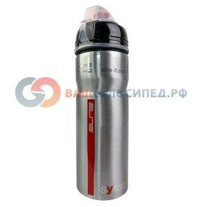 Фляга Elite Syssa, 0.75 л, алюминий, серебристый глянец, защитный колпачок, EL0101212Фляги и Флягодержатели<br>Прочная эргономичная фляга с изысканным дизайном.<br>Полностью изготовленная из алюминия, Syssa - лучший выбор в качестве спортивной фляги.<br><br>- Стильный дизайн без излишеств<br>- Полностью изготовлена из алюминия<br>- Эргономичное резиновая накладка<br>- Не содержит BPA и тяжелых металлов<br>- Совместима со всеми флягодержателями<br>- Объем 750мл<br>Диамтр: 7 см.<br>Длина: 22 см.