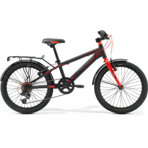 Велосипед детский Merida Dino J20, 2019Детские<br>Велосипед Merida Dino J20 (2019) - детский велосипед для активных юных гонщиков в возрасте от 5 до 9 лет. Прекрасная модель для первого знакомства с горным велосипедом.<br>Данная модель оснащена высококачественным оборудованием Merida начального уровня. 6-ти скоростная трансмиссия позволит ребенку чувствовать себя комфортно как при езде по ровной местности, так и в горку. Надежные и простые в эксплуатации ободные тормоза обеспечат уверенное торможение. Жесткая вилка предназначена для езды по асфальту.<br>Эргономичная и легкая алюминиевая рама разработана специально для детей, а мягкое седло и удобные нескользкие ручки также добавят комфорта. <br>В комплекте идут багажник, подножка и крылья для защиты от грязи!<br><br>ХАРАКТЕРИСТИКИ:<br><br>Рама: J 20 Boy Alloy<br>Вилка: Rigid Steel<br>Тормозные ручки: Alloy Junior<br>Тормоза: Merida V-Brake<br>Цепь: KMC Z33<br>Система: 38t<br>Задний переключатель: Shimano Tourney<br>Кассета: 14-28t, 6sp.<br>Руль: Merida 540mm, rise 30<br>Вынос: Merida 60mm<br>Рулевая колонка: Merida<br>Втулки: Merida <br>Обода: Merida 20 Alloy<br>Седло: Merida Kids<br>Подседельный штырь: 27.2mm<br>Манетки: Shimano Revoshift SL-RS35<br>Покрышки: Merida 20x2.0<br>Дополнительно: Крылья, багажник, подножка.