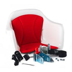 Кресло детское с креплением на руль белое с красной накладкой, 15кг, HTP 020 MILU white/redДетское велокресло<br>Кресло детское с креплением на руль белое с красной накладкой, 15кг, Италия (HTP SRL)
