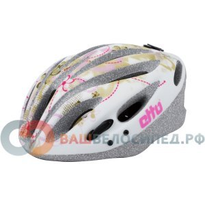 Велошлем Etto Kolibri, цвет белый с золотым орнаментом