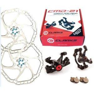 Тормозной набор механический дисковый задний CMD-21 CLARKS, 3-448Тормоза на велосипед<br>Тормозной набор механический дисковый задний CMD-21 CLARKS, передний+задний, облегченные  калиперы и тормозной ротор ?160мм, дополнительный комплект тормозных колодок, крепеж, совместим со всеми типами рам под дисковые тормоза, черный, инд. уп.<br><br><br>Характеристики:<br><br>Тип: механические<br><br>Облегченные калиперы<br><br>Совместимы со стандартами Post Mount/IS<br><br>Диаметр тормозного диска: 160 мм<br><br>В комплекте: передний и задний калиперы, тормозные диски, запасные колодки, крепеж.