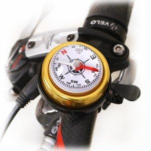 Звонок велосипедный Multibrand, на руль, со встроенным компасом, латунь, пластик, диаметр 47 мм, золотой, TSE_COMP