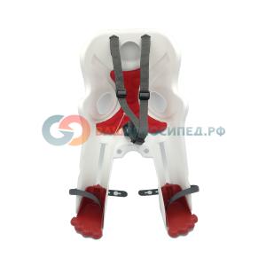 Детское велокресло BELLELLI Rabbit HandleFix, на рулевую трубу, белое с красной вкладкой, до 14 кг, 01RBT00020